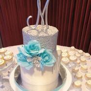Elegant Silver Sequin Drip Cake