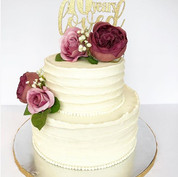 70th floral buttercream cake