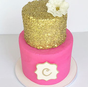 Pink & Gold Sequin Cake