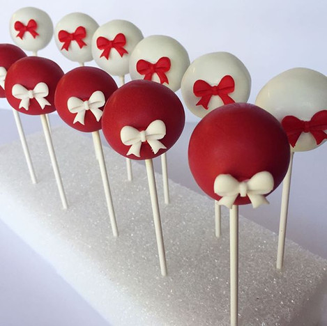 Red & White Bow Cake Pops