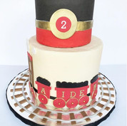 Red & Black Train Birthday cake