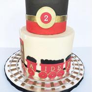 Red & Black Train Birthday cake