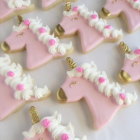 Pink & Gold Unicorn Cookies