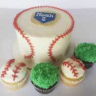 Baseball themed cake & cupcakes