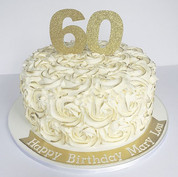 Gold rosette 60th birthday cake