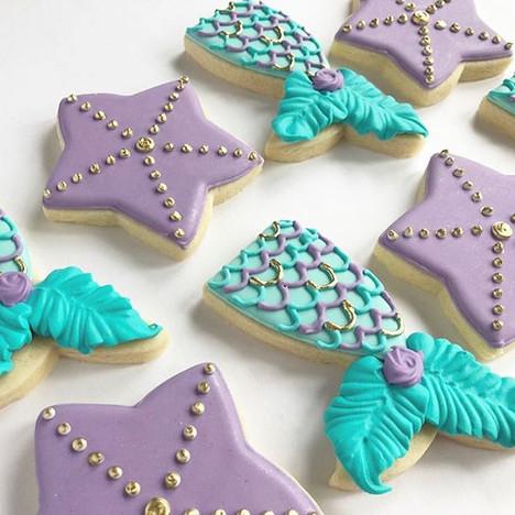 Mermaid themed sugar cookies