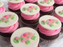 Pink & green sea turtle cupcakes