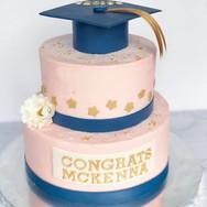 Pink & navy graduation cake