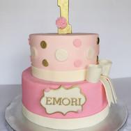 Pink & gold polka dot 1st birthday cake