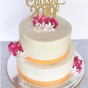 Orange & pink graduation cake