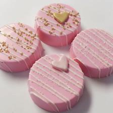 Pink heart oreos
