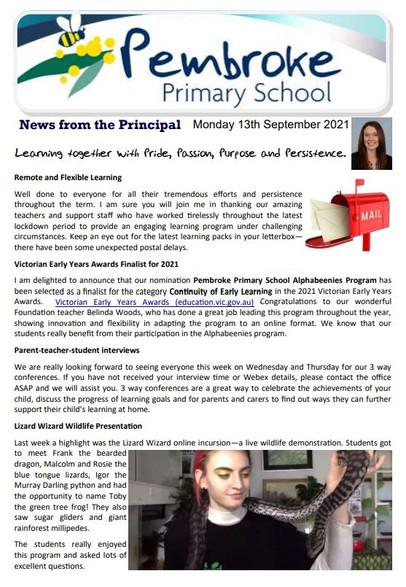 13th September 2021 Newsletter