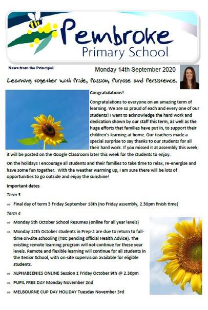 14th September 2020 Newsletter