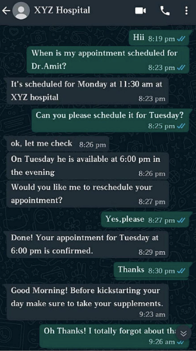 casual conversation by a whatsapp chatbot with a patient or a customer