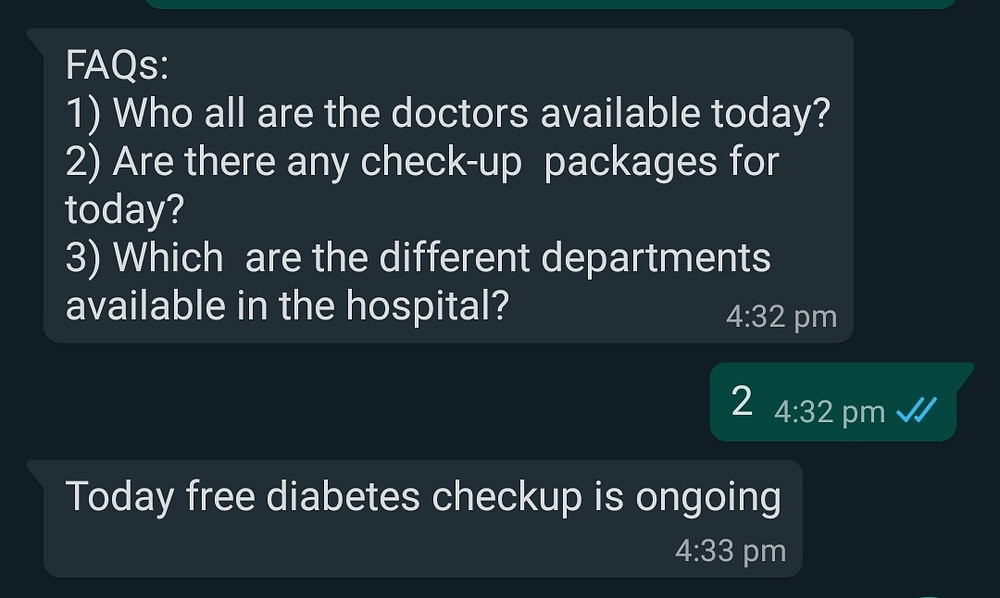Whatsapp chatbot for replying to faqs and frequently asked questions for hospitals