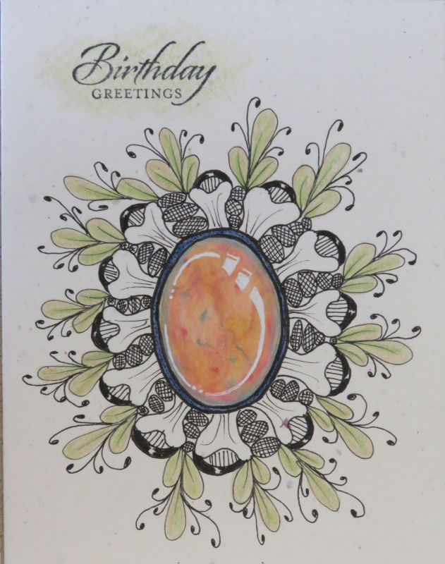 Zentangle doodlegem birthday card