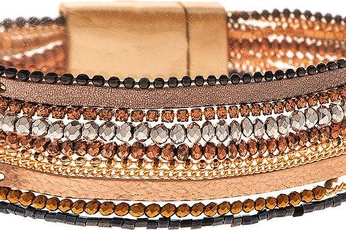 Multi Bead and Leather Bracelet