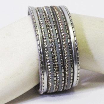Silver Rhinestone Magnetic Bracelet
