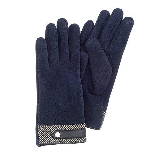 Velour Lined Chevron Trimmed Gloves