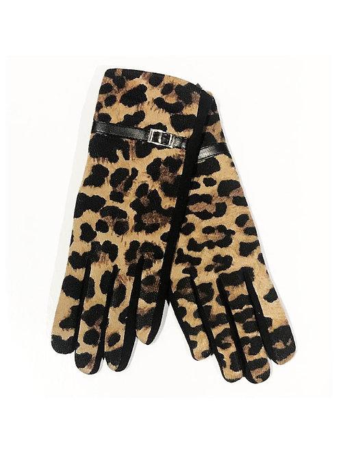 Leopard Knit Gloves