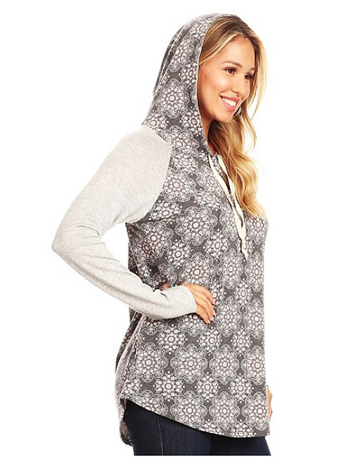 Mosaic Floral Hooded Top