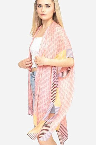 Geometric Stripe Kimono