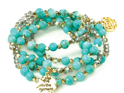 Glass Beaded and Natural Stone Wrap Bracelet/Necklace