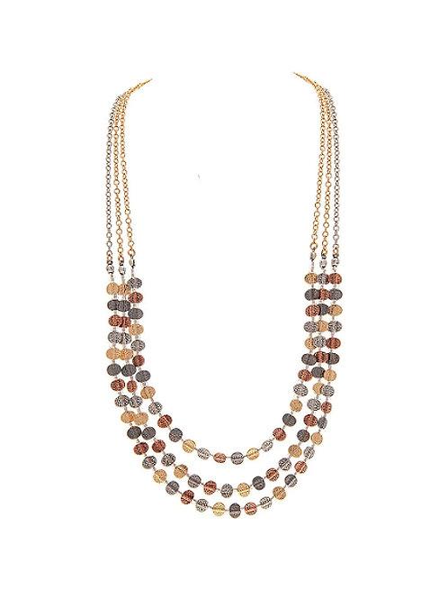 Multi Metal Triple Layered Necklace