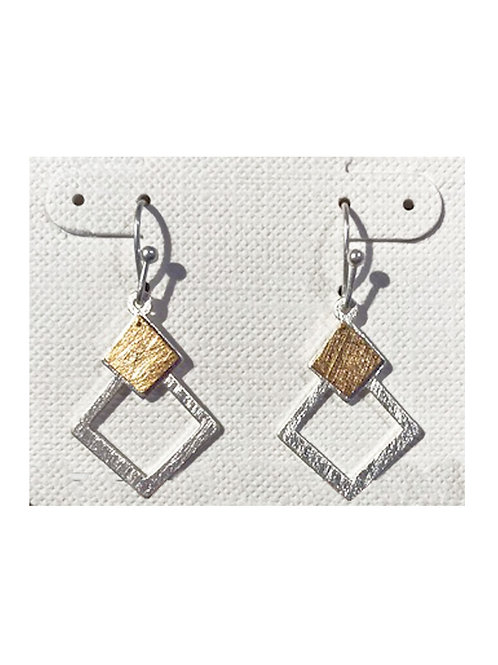 Two Tone Metal Etched Earring