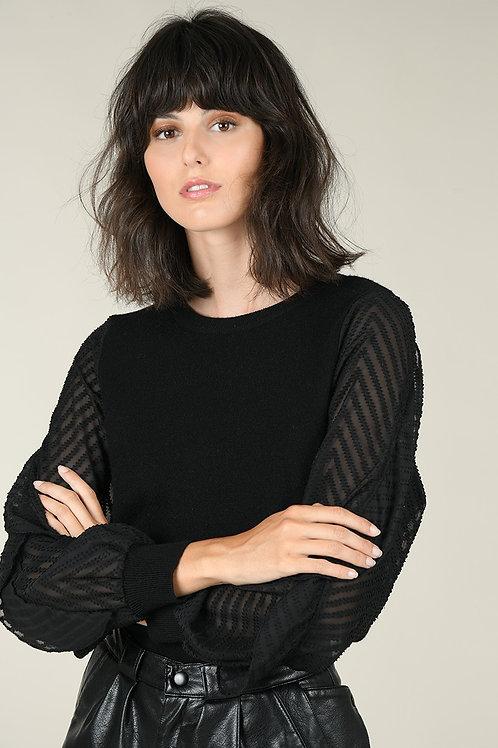 Ruffle Sleeved Knit Sweater