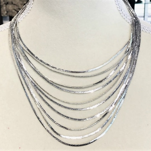 Multi Layered Silver Strand Necklace