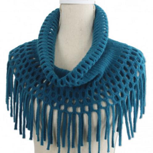 Knit Tassel Infinity Scarf