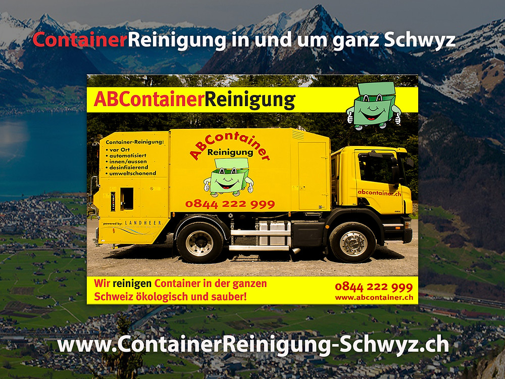 Ihre Container stinken nach der Leerung noch bis zum Himmel und sind eine bevorzugte Wohnstätte für Ungeziefer, Bakterien und Schimmelpilze jeglicher Art. abcontainer.ch bietet Ihnen die komfortable Lösung: Professionelle, schnelle und günstige Reinigungen Ihrer Mülltonnen! Unsere Servicefahrzeuge reinigen Ihre Container auf Wunsch am Tag der Leerung. Die Reinigung erfolgt durch mit neuster Technologie ausgestattete Fahrzeuge. Containerreinigung-Schwyz.ch - www.abcontainer.ch - 0844 222 999
