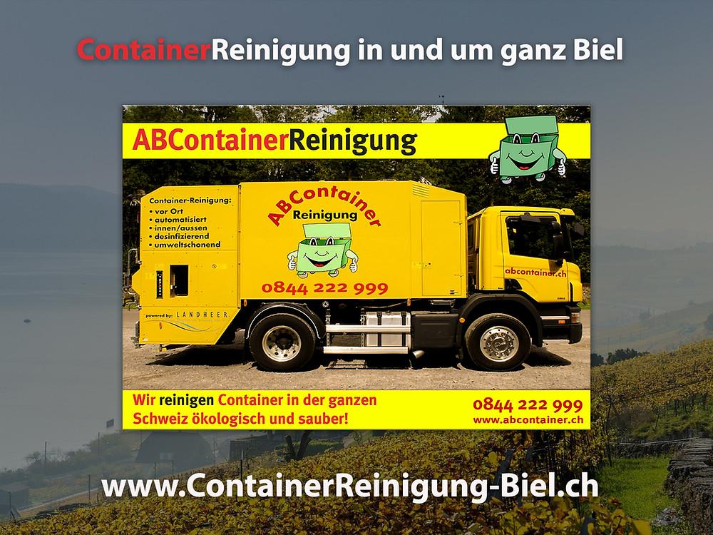 re Container stinken nach der Leerung noch bis zum Himmel und sind eine bevorzugte Wohnstätte für Ungeziefer, Bakterien und Schimmelpilze jeglicher Art. abcontainer.ch bietet Ihnen die komfortable Lösung: Professionelle, schnelle und günstige Reinigungen Ihrer Mülltonnen! Unsere Servicefahrzeuge reinigen Ihre Container auf Wunsch am Tag der Leerung. Die Reinigung erfolgt durch mit neuster Technologie ausgestattete Fahrzeuge. Containerreinigung-Biel.ch  - www.abcontainer.ch - 0844 222 999