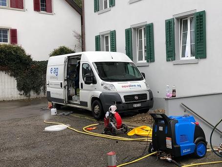 Inlinersanierung in Dürnten (ZH) mit unserer neuen Dampfanlage.