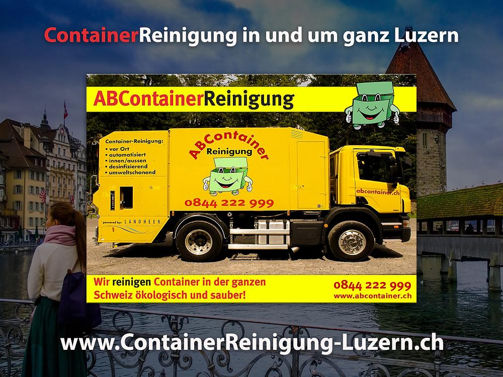Ihre Container stinken nach der Leerung noch bis zum Himmel und sind eine bevorzugte Wohnstätte für Ungeziefer, Bakterien und Schimmelpilze jeglicher Art. abcontainer.ch bietet Ihnen die komfortable Lösung: Professionelle, schnelle und günstige Reinigungen Ihrer Mülltonnen! Unsere Servicefahrzeuge reinigen Ihre Container auf Wunsch am Tag der Leerung. Die Reinigung erfolgt durch mit neuster Technologie ausgestattete Fahrzeuge. Containerreinigung-luzern.ch  - www.abcontainer.ch - 0844 222 999