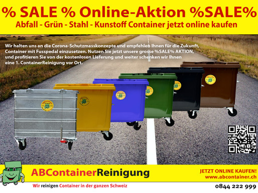 % SALE % Online-Aktion %SALE% : Abfall - Grün - Stahl - Kunstoff Container jetzt online kaufen