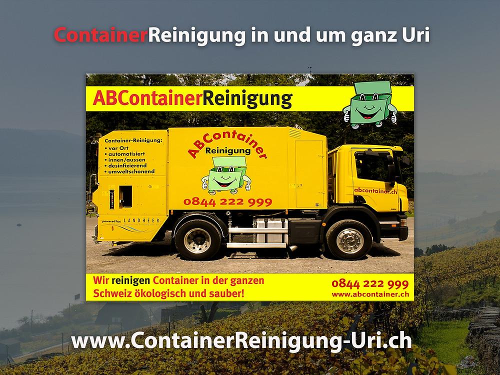 re Container stinken nach der Leerung noch bis zum Himmel und sind eine bevorzugte Wohnstätte für Ungeziefer, Bakterien und Schimmelpilze jeglicher Art. abcontainer.ch bietet Ihnen die komfortable Lösung: Professionelle, schnelle und günstige Reinigungen Ihrer Mülltonnen! Unsere Servicefahrzeuge reinigen Ihre Container auf Wunsch am Tag der Leerung. Die Reinigung erfolgt durch mit neuster Technologie ausgestattete Fahrzeuge. Containerreinigung-Uri.ch  - www.abcontainer.ch - 0844 222 999