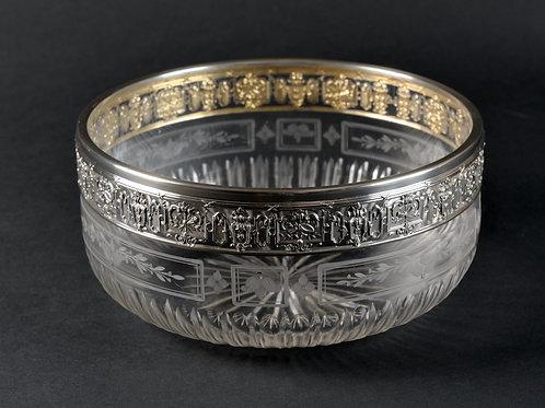 Kristall-Schale mit Silberrand