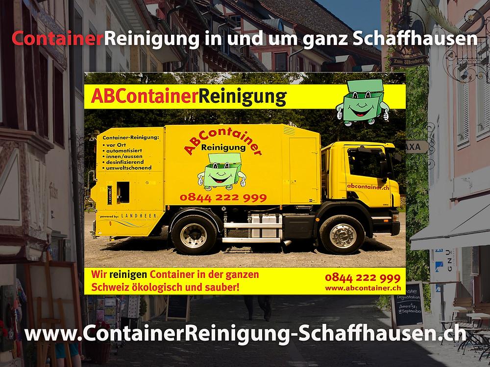 Ihre Container stinken nach der Leerung noch bis zum Himmel und sind eine bevorzugte Wohnstätte für Ungeziefer, Bakterien und Schimmelpilze jeglicher Art. abcontainer.ch bietet Ihnen die komfortable Lösung: Professionelle, schnelle und günstige Reinigungen Ihrer Mülltonnen! Unsere Servicefahrzeuge reinigen Ihre Container auf Wunsch am Tag der Leerung. Die Reinigung erfolgt durch mit neuster Technologie ausgestattete Fahrzeuge. Containerreinigung-Schaffhausen.ch - www.abcontainer.ch - 0844 222 999