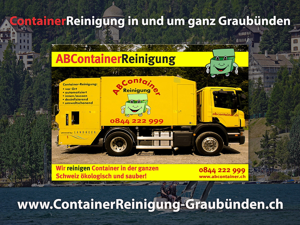 Ihre Container stinken nach der Leerung noch bis zum Himmel und sind eine bevorzugte Wohnstätte für Ungeziefer, Bakterien und Schimmelpilze jeglicher Art.  abcontainer.ch bietet Ihnen die komfortable Lösung:  Professionelle, schnelle und günstige Reinigungen Ihrer Mülltonnen!  Unsere Servicefahrzeuge reinigen Ihre Container auf Wunsch am Tag der Leerung.  Die Reinigung erfolgt durch mit neuster Technologie ausgestattete Fahrzeuge.  Containerreinigung-Graubuenden.ch  - www.abcontainer.ch - 0844 222 999