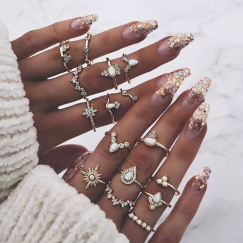 16-teiliges Fingerringset HOT PRINCESS