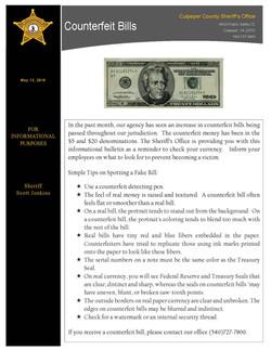 Counterfeit Bills Public