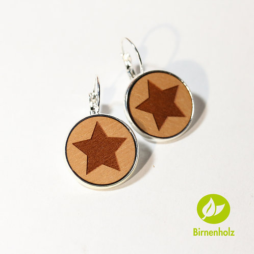Ohrringe mit Birnenholz «star»