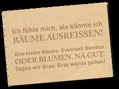 Holzpostkarte «sagen wir gras»
