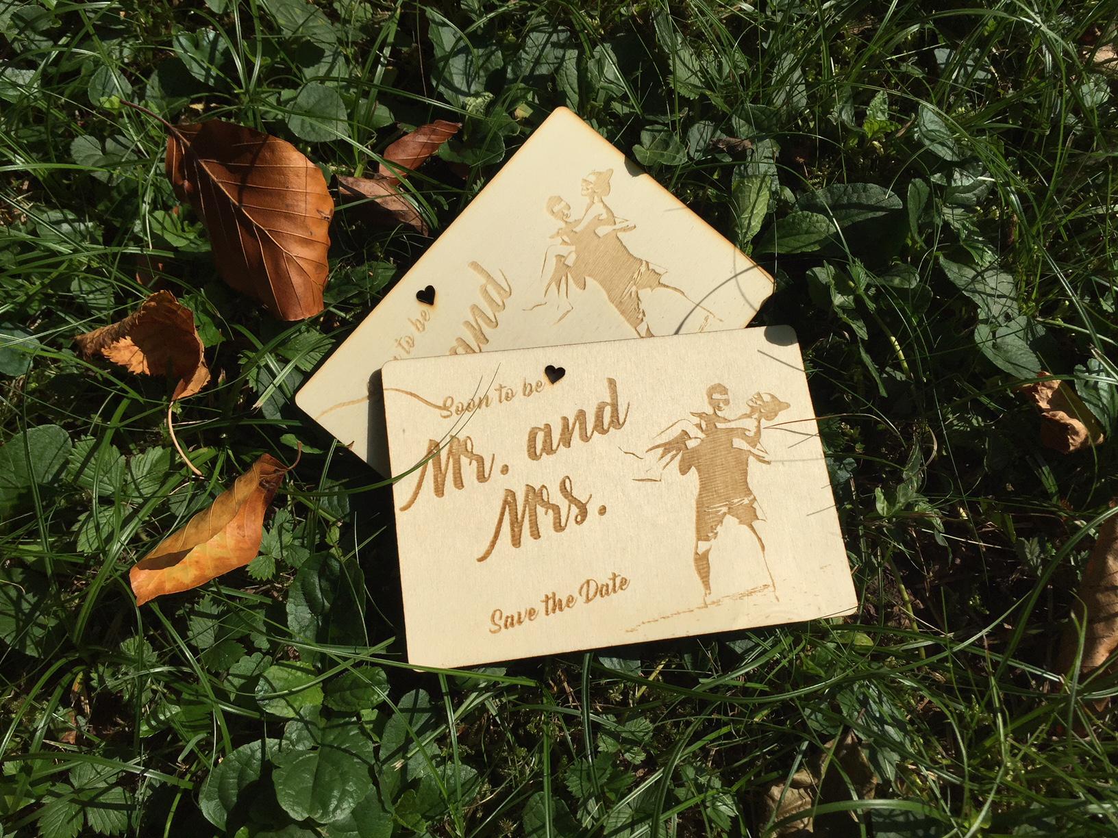 HOLZcard Hochzeits-Einladung