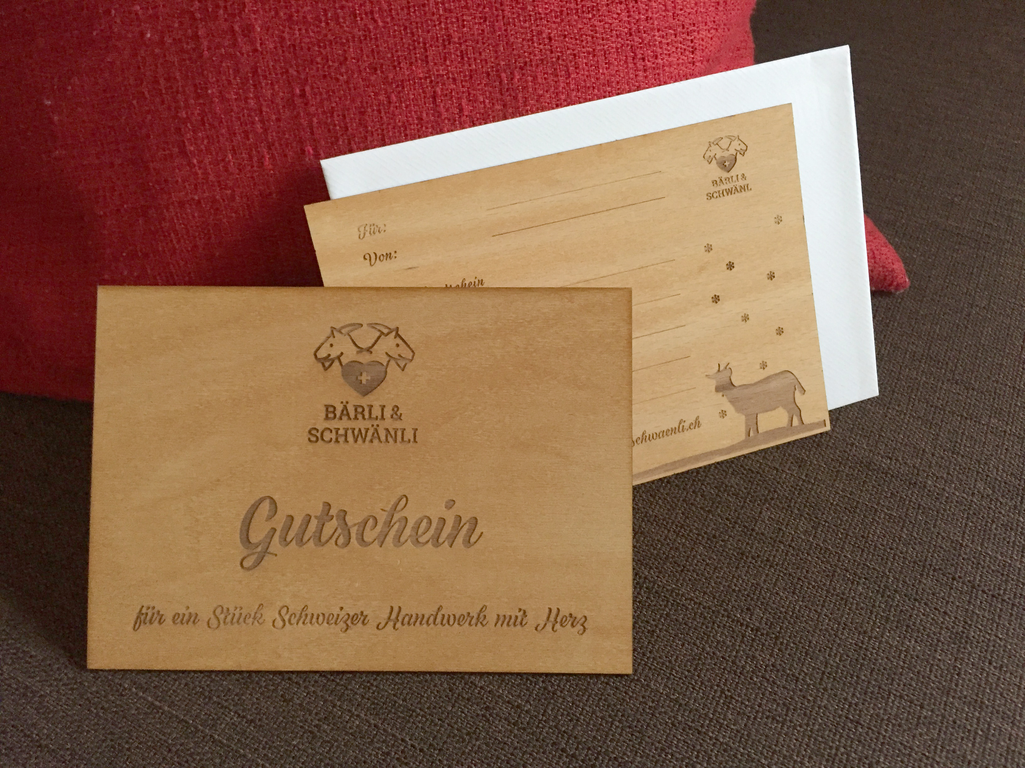 Holzpostkarte Gutschein