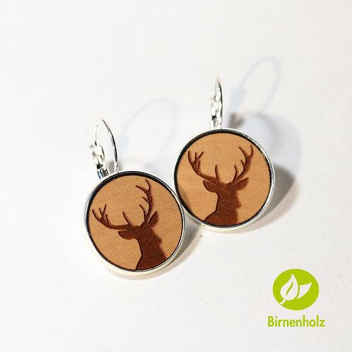 Ohrringe mit Birnenholz «hirsch»