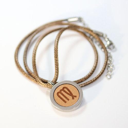 JUNGFRAU Sternzeichen Halskette mit Birnenholz