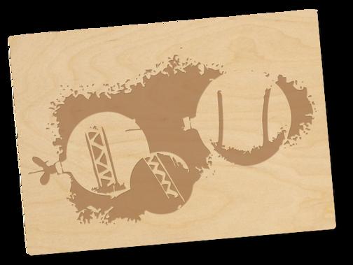 Holzpostkarten «Weihnachtskugeln»